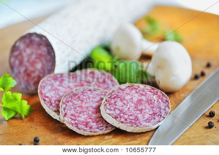 salami slices and pepper