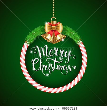 Vector Background With Christmas Decor And Handwritten Text