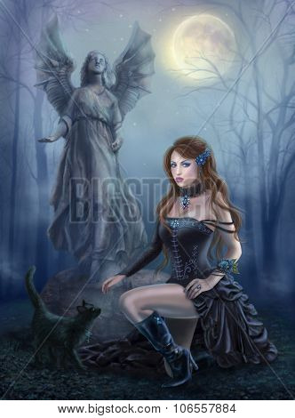 Fantasy beautiful woman with black cat