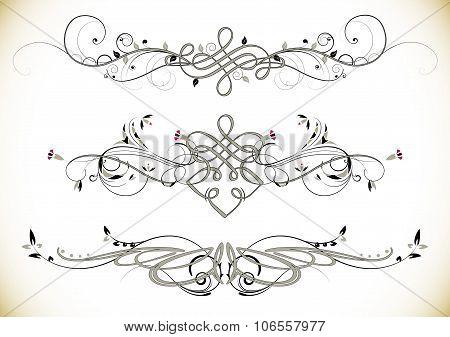 Swirl Floral Vintage Ornaments Decoration Vector