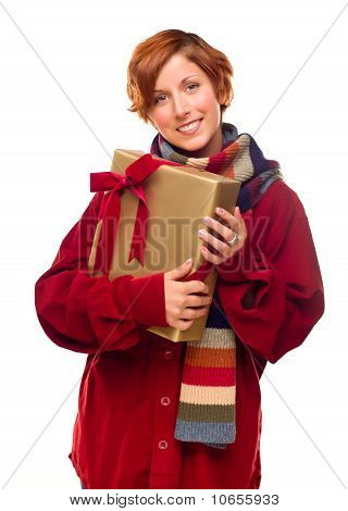 Pretty Red Haired Girl With Scarf Holding Wrapped Gift
