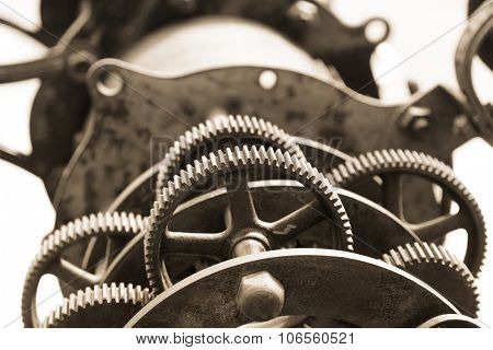 Close up shot of old telescope gears