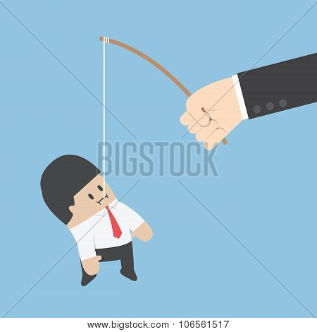 Businessman Eat The Fishing Bait