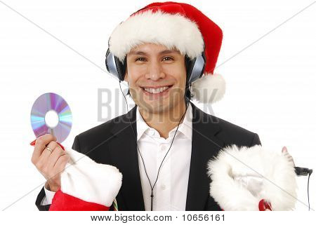 Man Listening To Christmas Music