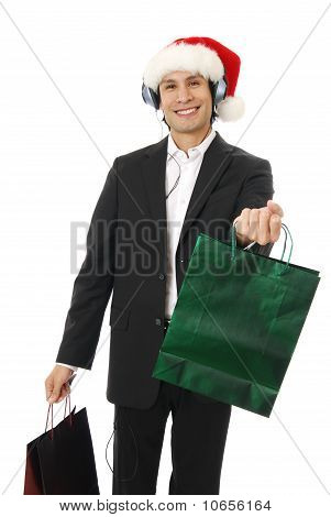 Man Giving Christmas Gift