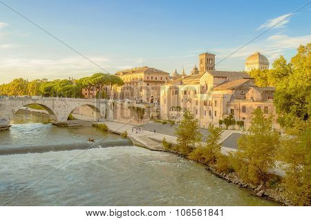 The Tiber Island Or Isola Tiberina In Rome, Italy