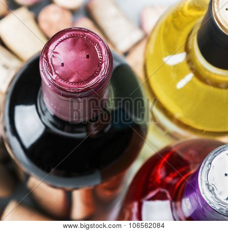 Wine And Corks Isolated On White Background