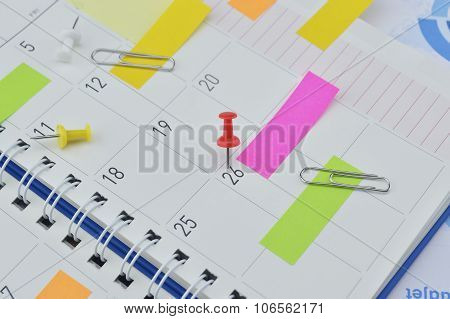 Pin With Colorful Sticky Notes And Pin On Business Diary Page