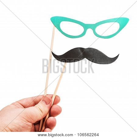 Mustache And Glasses Of Paper In His Hand