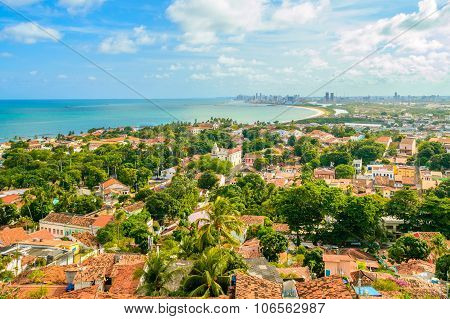 Old Town Of Olinda With Recife City In The Bacground And The Atlantic Ocean