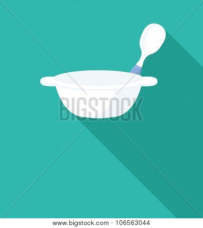 baby bowl flat icon with long shadow