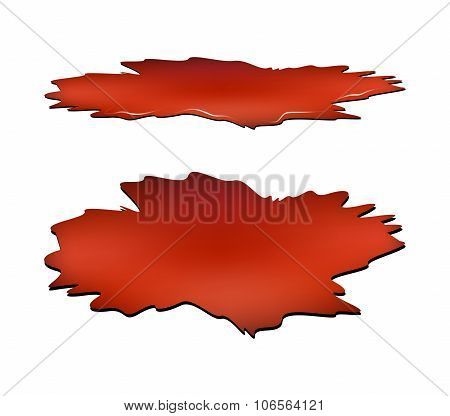 Blood Puddle Set, Red Drop, Blots, Stain, Plash Od Blood. Vector Illustration Isolated On White Back