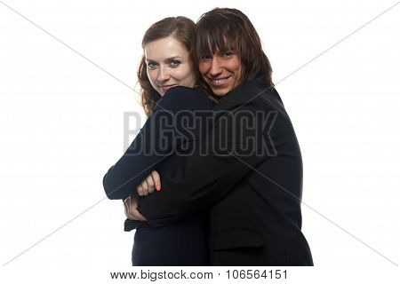 Woman and smiling happy man in black jacket