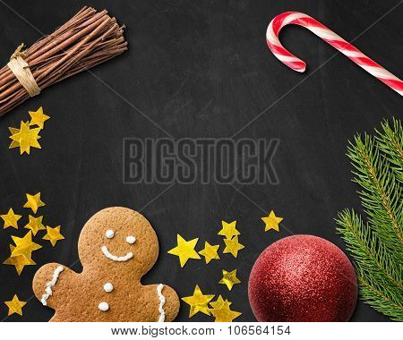 Christmas Card With A Gingerbread Man And Christmas Decoration