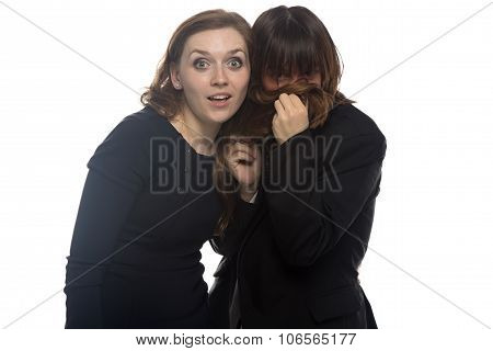 Woman and sick man putting her hair in nose