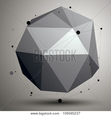 Geometric Abstract 3D Complicated Lattice Object, Single Color Asymmetric Element With Wireframe Str