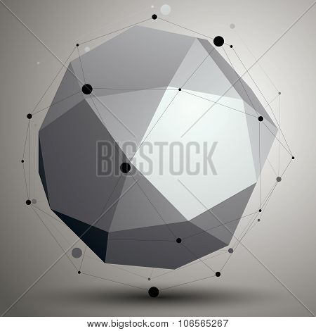 Abstract Asymmetric Vector Monochrome Object, Complicated Geometric Shape.
