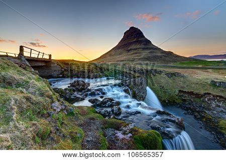 Mount Kirkjufell after sunset