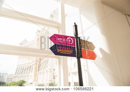 Macao, China - June 25, 2015:sign Post At The Corner In Macao On June 25, 2015.