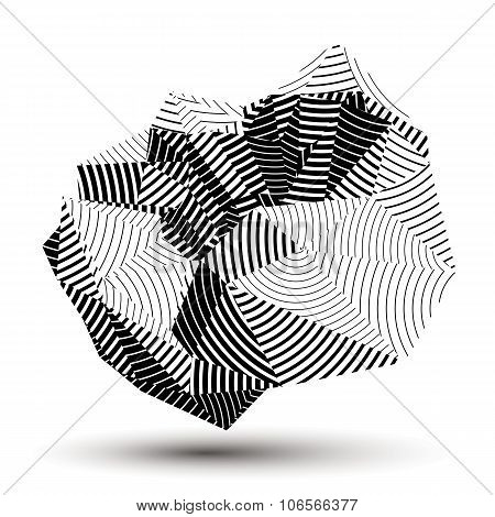 3D Contemporary Style Abstract Stripy Object, Cybernetic Futuristic Form. Technology Idea.