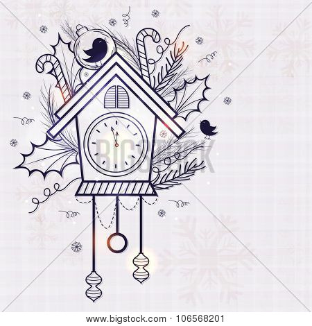 Creative clock in hut shape showing almost Twelve 'O' clock on Xmas ornaments decorated background for Happy New Year celebration.