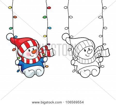 Coloring Book. Vector Card Concept - Cute Snowman.