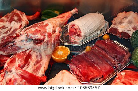 meat products in in small shop