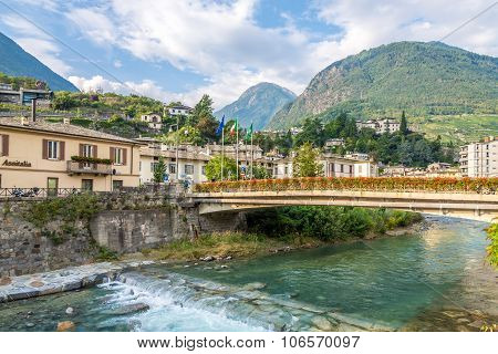 Bridge Over Adda River In Sondrio