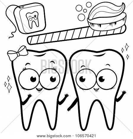 Coloring page cartoon teeth with toothbrush and dental floss