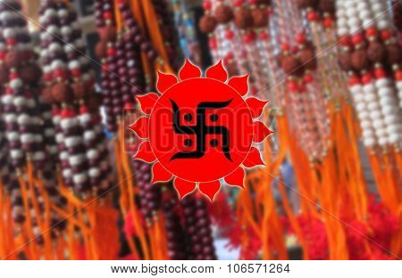 Holy Swastik sign on Rudraksha BG, Hindu Devotional