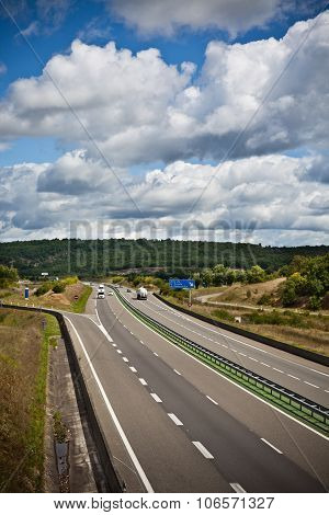 Highway Through France At Summer Time