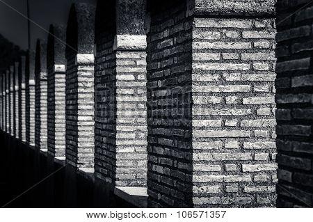 Abstract black and white texture brick walls and pillars