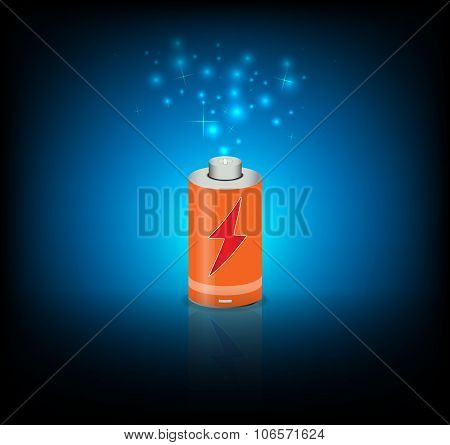 battery energy power on blue color background