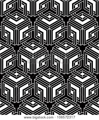 Endless Monochrome Symmetric Pattern, Graphic Design. Geometric Intertwine Op art Composition.