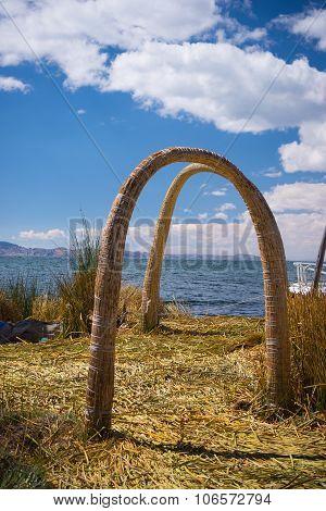 Totora Reed Village On Uros Island, Titicaca Lake, Peru