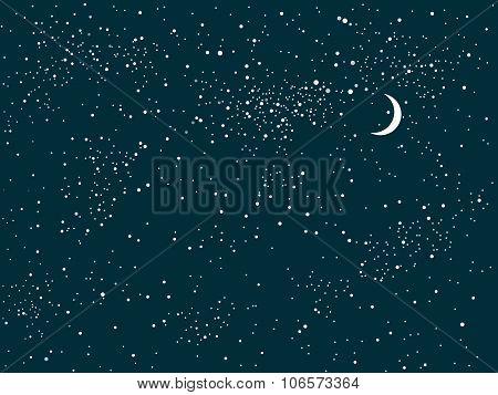 Vector background. Starry night sky. Stars, sky, night.