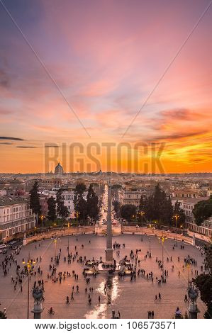 Sunset In Rome, Italy, Over The Piazza Del Popolo