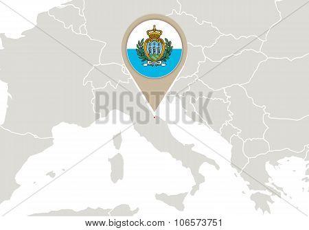 San Marino On Europe Map