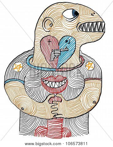 Illustration Of Man, Love, Hate And Sex Conceptual Hand Drawn Picture. Artistic Drawing, Masculinity
