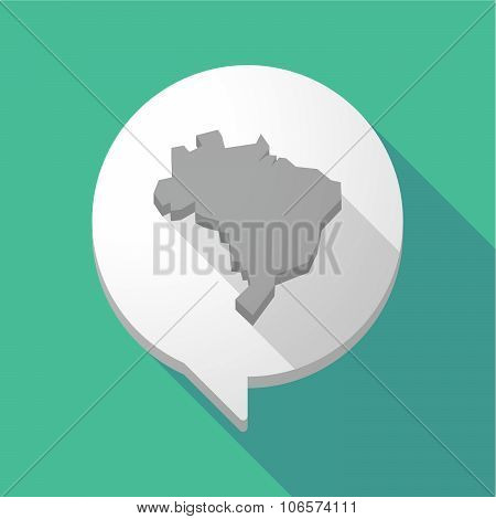 Long Shadow Comic Balloon With  A Map Fo Brazil