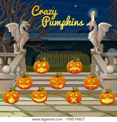 Front porch with stone figures of dragons and pumpkins with different expression