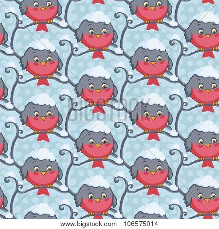 Bird red vector seamless pattern. Winter background.