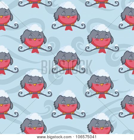 Bird red bullfinch sleep vector seamless pattern.