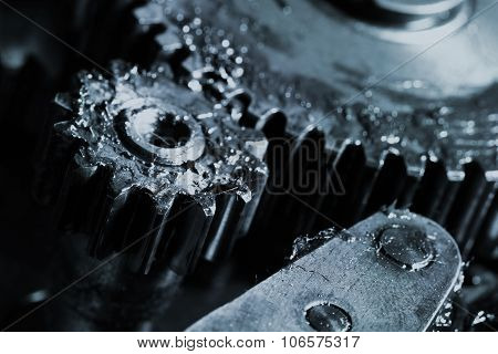 Gears Work In An Industrial Machine