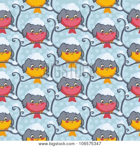 Bird tomtit and bullfinch vector seamless pattern.