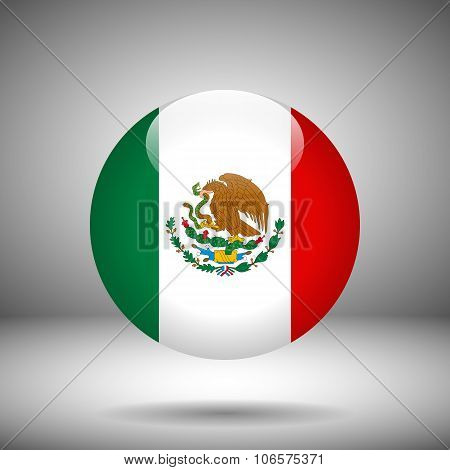 Round Flag Of Mexico, Vector Illustration