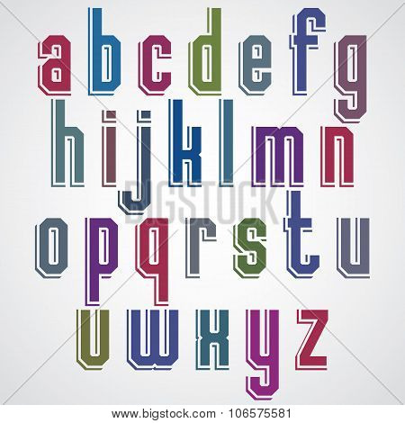 Colorful Decorative Font, Geometric Lowercase Letters With White Outline.