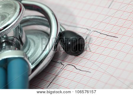 Stethoscope And Ecg Diagnostic Concept