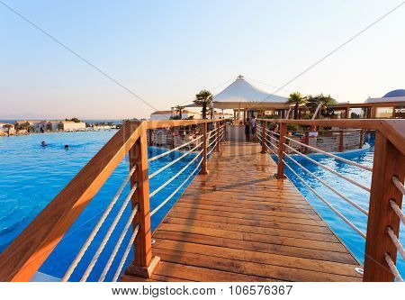 Kardamena, Kos/greece - July 29, 2015: Pool Bar In Mitsis Blue Domes Resort