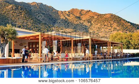 Kardamena, Kos/greece - July 29, 2015: International Cuisine Restaurants Available For All Clients O